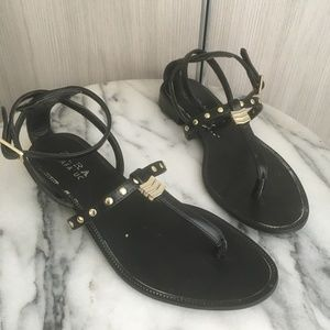 Zara black sandals, ankle strap, gold trim